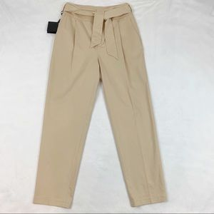 Massimo Dutti high rise tie waist pleated pants